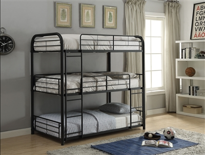 Cairo Triple Twin Bunk Bed in Sandy Black Finish by Acme - 37335