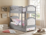 Pearlie Twin/Twin Bunk Bed in Antique Gray & Pearl PU Finish by Acme - 37690