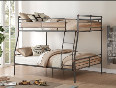Brantley II Full XL/Queen Bunk Bed in Sandy Black & Dark Bronze Hand-Brushed Finish by Acme - 37735