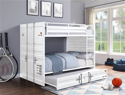 Cargo Full/Full Bunk Bed in White Finish by Acme - 37885