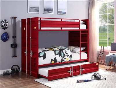 Cargo Twin/Twin Bunk Bed in Red Finish by Acme - 37910