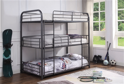 Cairo Triple Full Bunk Bed in Gunmetal Finish by Acme - 38095