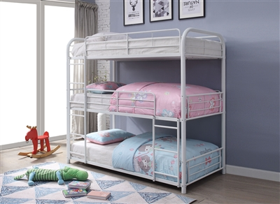 Cairo Triple Twin Bunk Bed in White Finish by Acme - 38110