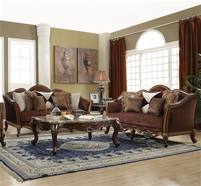 Beredei 2 Piece Sofa Set in Fabric & Antique Oak Finish by Acme - 50665-S