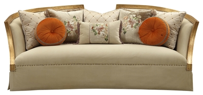 Daesha Sofa in Fabric & Antique Gold Finish by Acme - 50835