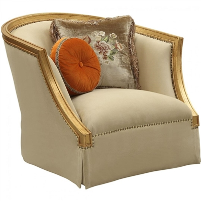 Daesha Chair in Fabric & Antique Gold Finish by Acme - 50837