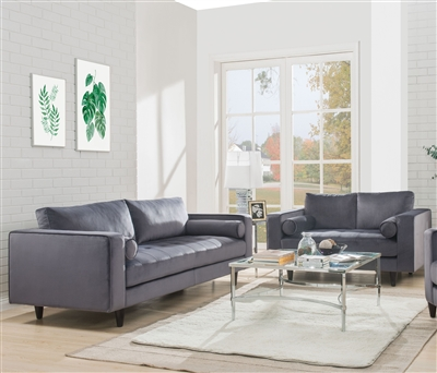 Heather 2 Piece Sofa Set in Gray Velvet Finish by Acme - 51070-S