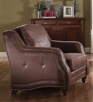 Nickolas Chair in Chocolate Polished Microfiber Finish by Acme - 52067