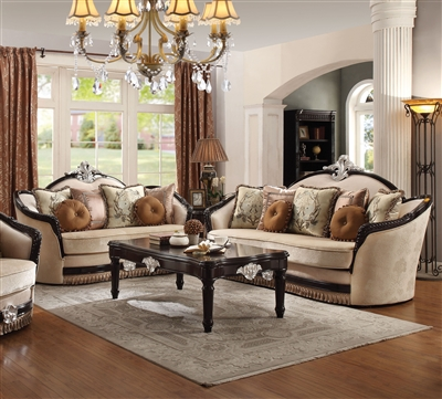 Ernestine 2 Piece Sofa Set in Tan Fabric & Black Finish by Acme - 52110-S