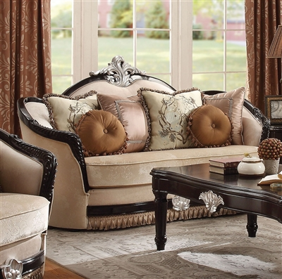 Ernestine Loveseat in Tan Fabric & Black Finish by Acme - 52111