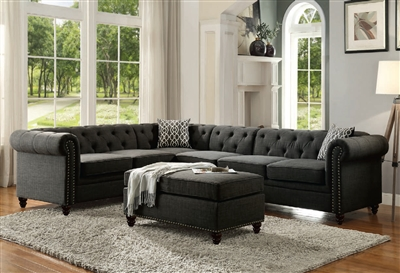 Aurelia II 4 Piece Sectional in Charcoal Finish by Acme - 52375