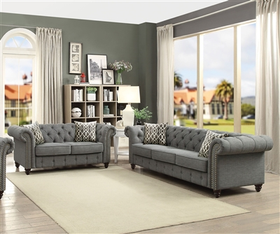 Aurelia 2 Piece Sofa Set in Gray Finish by Acme - 52425-S