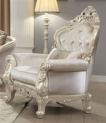 Gorsedd Chair in Cream Fabric & Antique White Finish by Acme - 52442