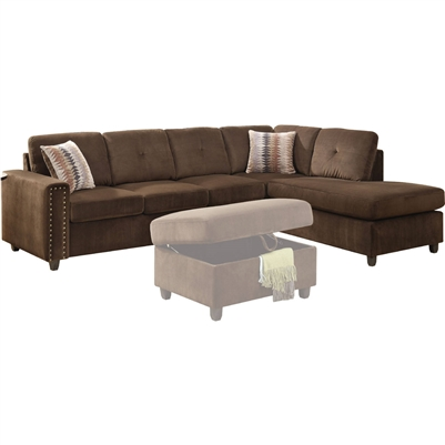 Belville Reversible Chaise Sectional in Chocolate Velvet Finish by Acme - 52700
