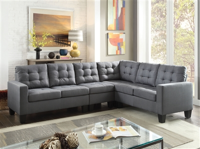 Earsom 4 Piece Sectional in Gray Linen Finish by Acme - 52760