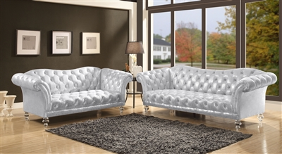 Dixie 2 Piece Sofa Set in Metallic Silver Finish by Acme - 52780-S
