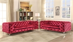 Adam 2 Piece Sofa Set in Red Velvet Finish by Acme - 52795-S