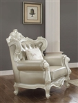 Erigeron Chair in Bone Top Grain Leather Match & Antique Pearl Finish by Acme - 53062