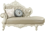Erigeron Chaise in Bone Top Grain Leather Match & Antique Pearl Finish by Acme - 53063
