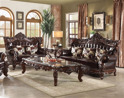 Forsythia 2 Piece Sofa Set in Espresso Top Grain Leather & Walnut Finish by Acme - 53070-S