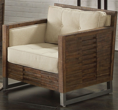 Andria Chair in Beige Linen & Reclaimed Oak Finish by Acme - 53452