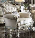 Picardy II Chair in Fabric & Antique Pearl Finish by Acme - 53462