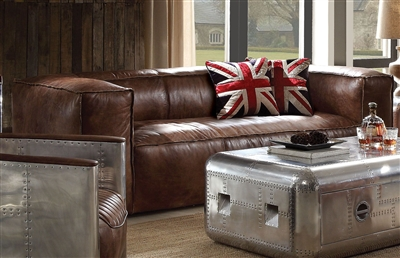 Brancaster Sofa in Retro Brown Top Grain Leather Finish by Acme - 53545