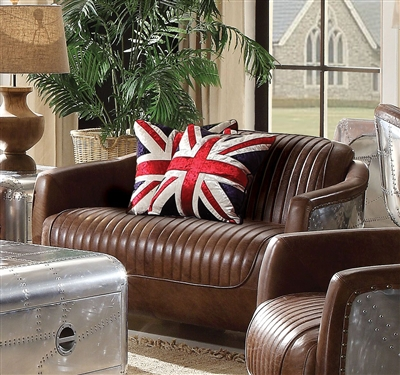 Brancaster Loveseat in Retro Brown Top Grain Leather Finish by Acme - 53546