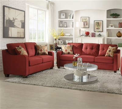 Cleavon II 2 Piece Sofa Set in Red Linen Finish by Acme - 53560-S