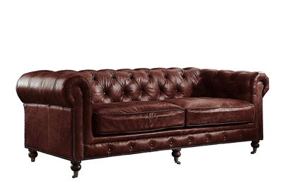 Aberdeen Sofa in Vintage Dark Brown Top Grain Leather Finish by Acme - 53625
