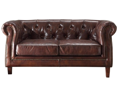 Aberdeen Loveseat in Vintage Dark Brown Top Grain Leather Finish by Acme - 53626