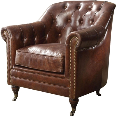 Aberdeen Chair in Vintage Dark Brown Top Grain Leather Finish by Acme - 53627
