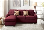 Cleavon II Reversible Chaise Sectional in Red Linen Finish by Acme - 53740