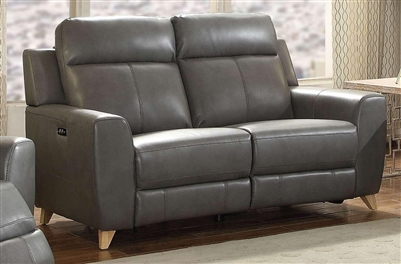Cayden Power Motion Loveseat in Gray Leather-Aire Match Finish by Acme - 54201