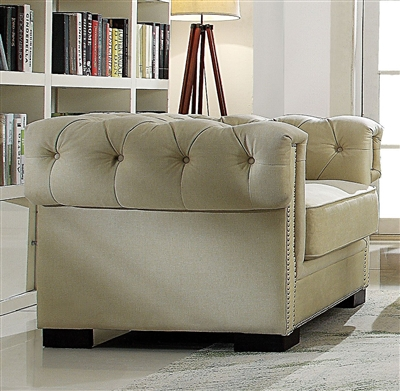 Eulalia Chair in Cream Polished Velvet Finish by Acme - 54247