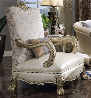 Dresden II Chair in Pearl PU & Gold Patina Finish by Acme - 54877