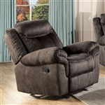 Zubaida Motion Glider Recliner in 2-Tone Chocolate Velvet Finish by Acme - 55022