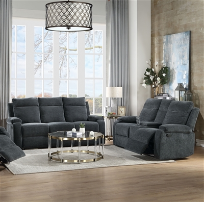 Elijah 2 Piece Motion Sofa Set in Slate Blue Chenille Finish by Acme - 55110-S