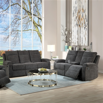 Elijah 2 Piece Motion Sofa Set in Charcoal Chenille Finish by Acme - 55115-S