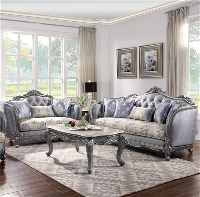 Ariadne 2 Piece Sofa Set in Fabric & Platinum Finish by Acme - 55345-S