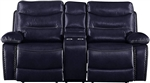 Aashi Motion Loveseat in Navy Leather-Gel Match Finish by Acme - 55371