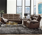 Aashi 2 Piece Motion Sofa Set in Brown Leather-Gel Match Finish by Acme - 55420-S