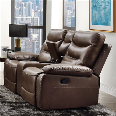 Aashi Motion Loveseat in Brown Leather-Gel Match Finish by Acme - 55421