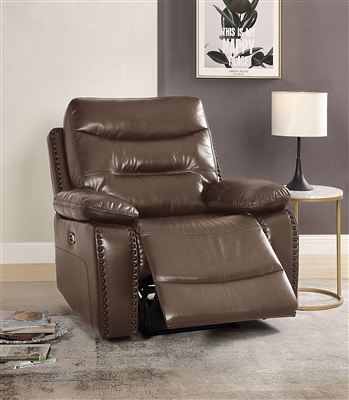 Aashi Power Motion Recliner in Brown Leather-Gel Match Finish by Acme - 55423