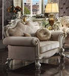 Picardy Chair in Fabric & Antique Pearl Finish by Acme - 55462