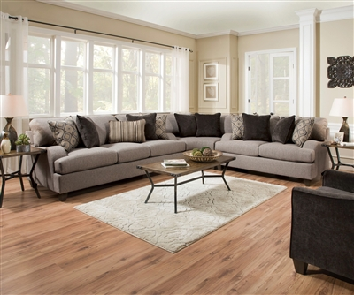 Cantia 2 Piece Sofa Set in 2-Tone Gray Fabric Finish by Acme - 55800-S