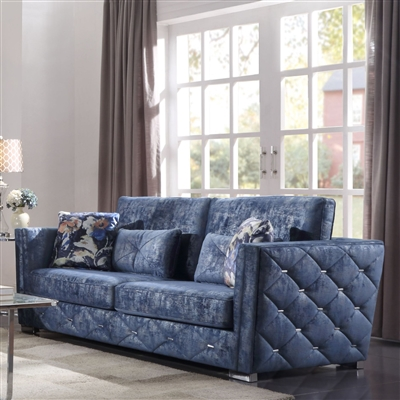 Emilia Sofa in 2-Tone Blue Fabric Finish by Acme - 56025