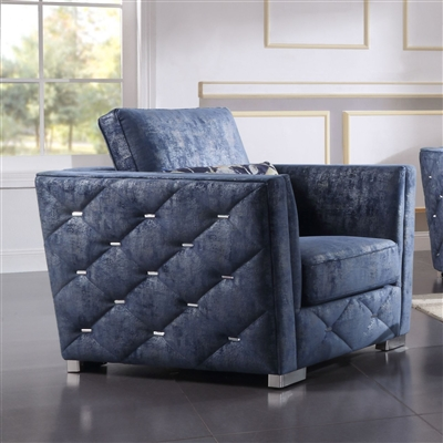 Emilia Chair in 2-Tone Blue Fabric Finish by Acme - 56027