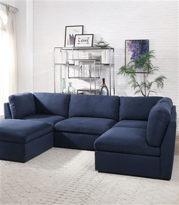 Crosby 4 Piece Sectional in Blue Fabric Finish by Acme - 56035-56036