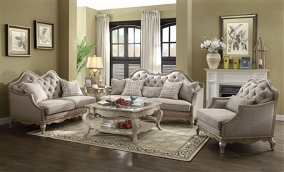 Chelmsford 2 Piece Sofa Set in Beige Fabric & Antique Taupe Finish by Acme - 56050-S